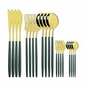 20pcs Green Gold Cutlery Stainless Steel Dinnerware Fork Spoon Knife Dining Sets
