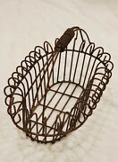 Vintage French Country Wire Egg Basket Garden Farmhouse Rolled Edge Metal Scroll