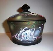 Fenton Mosser Glass Christmas Kitten Candy Dish Covered Box Le 11/13 Spindler