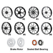 26and039and039 Front Wheel Rim Hub + Brake Rotor Fit For Harley Touring Road Glide 08-21