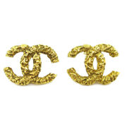 Cc Logos Charm Earrings Clip-on Gold-tone Accessories 93a 60511