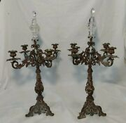 Antique Pair Glass/ Crystal Finials Candelabra Bronze Candle Holders 23 Tall