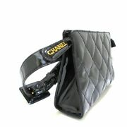 Quilted Waist Pouch Gold Hardware Enamel Leather Black W/ Storage Bag