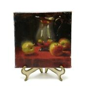 """K. Weber Signed Apples And Silver Still Life Oil Painting 6""""x6"""" Rhode Island"""