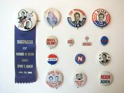 Richard Nixon 1968 Presidential Campaign Pinback Buttons, Lot Of 14, Political
