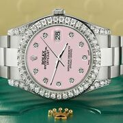 Rolex Datejust Ii 41mm 4.5ct Diamond Bezel/lugs/orchid Pink Dial Box Papers