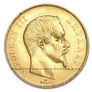 France 1855-a Gold 50 Francs Napoleon Au-unc About Uncirculated French Coin