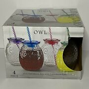 Circleware 4 Piece 16 Oz Owl Mason Jars With Colored Straws And Colored Lid
