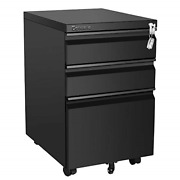 Cotoala Rolling 3 Drawer File Cabinet With Lock, Black