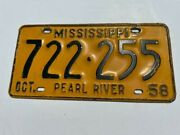 Mississippi Pearl River County License Plate 1958