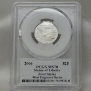 2006 25 Platinum Eagle Statue Of Liberty Pcgs Ms70 First Strike Mercanti Flag