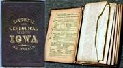 Sectional Geological Map Of Iowa 1856 N H Parker Colton Ia Cloth Covers W/ Gilt