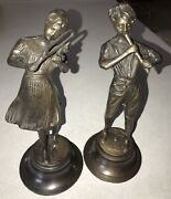 Pair Of Bronze Fonderia Lancini Statues Boy Playing Flute And Girl Playing Violin