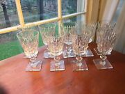 9 Gunderson Pairpoint 9 3/4 Cut Glass Water Wine Goblets Stem 5000