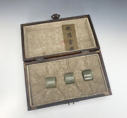 Antique Chinese Qing Engraved Set Of Jade Thumb Ring In Huanghuali Box