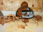Gourd Art And Hand Carved Barnyard Ranch Scene Horses Corral Old West Farm Wagon