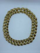 Vintage Thick Chunky Gold Tone Chain Link Style Choker Collar Necklace
