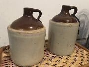 Lot Of 2 Old Vintage Antique Whiskey Moonshine Jugs Two Tone Tan Brown.