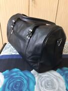 20 In Black Leather Duffel Bag Travel Air-cabin Carry-on Hand Luggage Handbags