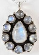 18 Sterling Silver 925 Necklace And Natural Rainbow Moonstone Pendant