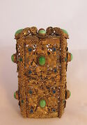 Wow Antique French Gold Gilt Filigree Jeweled Box And Cut Glass Perfume Bottles