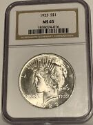 1923 Peace Silver Dollar- Ngc Ms 65