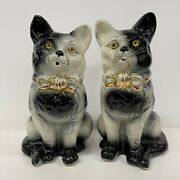 Pair Antique Cats Victorian 32cm Boand039ness Scottish Pottery C1900 Black White Grey