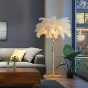 Ostrich Feather Floor Lamp Light Stand Modern Home Copper Room Interior Decor