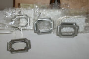 Longaberger Lot Of 4 Pewter Rectangle Label Tie-on For Canister Basket 3 New
