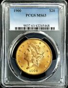 1900 Gold United States 20 Dollar Liberty Double Eagle Pcgs Mint State 63