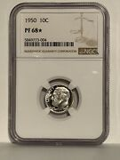 1950 Star Roosevelt Dime Ngc Pf 68 Star Price Guide - 1200