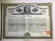 1909 National Railways Of Mexico Bond Stock Certificate 1st Preferred Gold