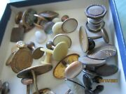 Vintage Antique Lot Of 38 Misc Cuff Links Shirt Buttons Ect Jewelry Craft Sewing