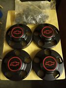 4 Gm Black Center Caps With Reproduction 454 Ss Sport Truck Style Emblems
