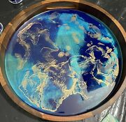 """New Acacia Wood Serving Tray 15"""" Hand Painted W/ Resin Blue, Teal, Gold Accents"""