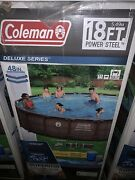 """Coleman 18' X 48"""" Deluxe Power Steel Frame Round Above Ground Pool Set New"""