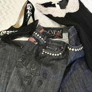 7 For All Mankind Great Wall Leather Skull Studded Jeans Size 28 Dark Wash Rare