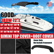 3 Bow Boat Bimini Top Replacement Canvas Cover 600d Zipper Waterproof No Frame