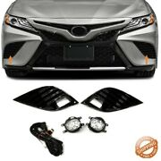 Fits For 2018-2020 Toyota Camry Se Xse Led Fog Lights Lamp W/ Cover And Switch Set