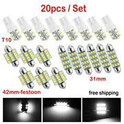 20x Car Interior Package Map Dome License Plate Led Light Kits Cool White T10