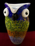 Murano Cased Glass Owl Pitcher-9 1/2 Tall-5 Across-multicolor
