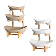 Modern 3 Tiers Fruit Plates Snack Nuts Serving Bowls Dish Kitchen Tableware