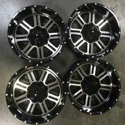 Used 22x12 D6 Fit Lifted Chevy 8x165.18x6.5 -44 Black Machined Face Wheels Set