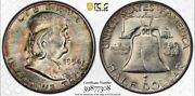 1954-d Franklin Silver Half Dollar Pcgs Ms64 Toned Collector Coin Free Shipping