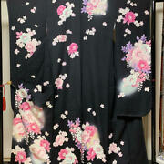 Pure Silk Furisode White And Pink Dyed On Black For The Coming-of-age Ceremony