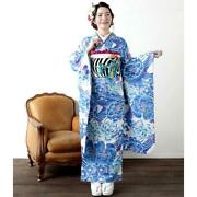 Furisode Belt Singlet 3-piece Set Wayu Day Pattern Of Feathers Coming-of-age
