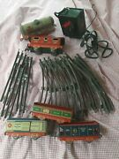 Vintage Antique Old Collectible Tin Toy Train Cars Tracks Motor