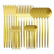30pcs Matte Luxury Gold Cutlery Set Stainless Steel Flatware Knives Forks Spoons