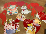 Lot Of 13 Vintage Valentine's Day Cutout Decorations - Hearts , Cupid Etc
