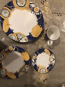 Vitromaster Timepiece 16 Piece Service For 4- Dinner And Salad Plate Saucer And Cup